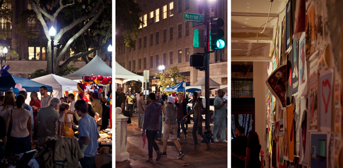 Downtown Jacksonville during the 2011 October artwalk at hemming plaza
