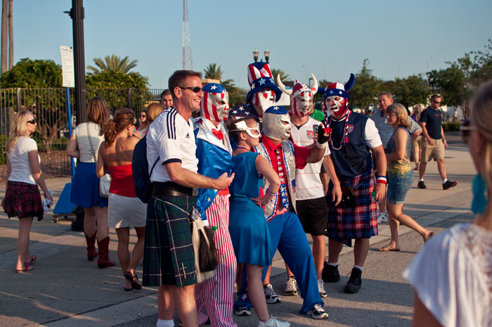us soccer fans in jacksonville florida at everbank field for the usa vs scotland game 5-1 may 26 kilts red white blue masks luchador