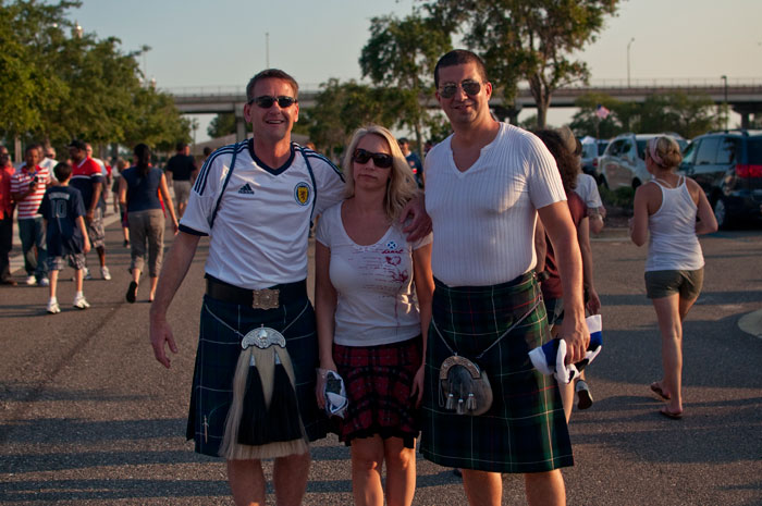 fans of scotland in full costume with kilts in jacksonville florida at everbank field for the usa vs scotland game 5-1 may 26