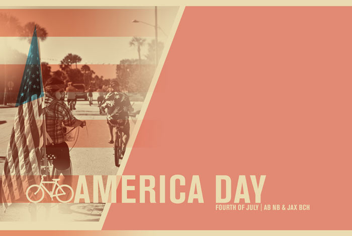 brittany norris graphic design poster for jacksonville beach fourth of july riding ride bikes america day