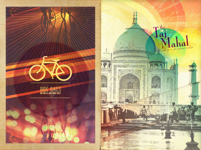 graphic design photo illustration brittany norris digital artwork art piece ride bikes the taj mahal agra india