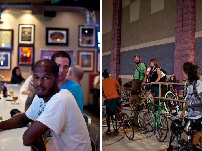 jacksonville southside mellow mushroom with cyclist waiting for premium rush to start