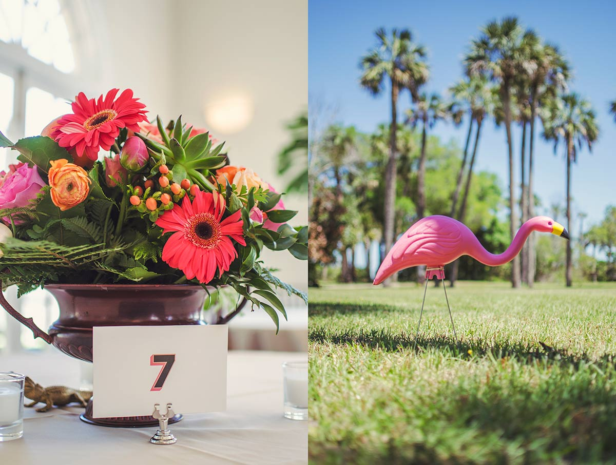 "florida vintage wedding The Ribault Club Fort George Island floral arrangement flamingo"" width="