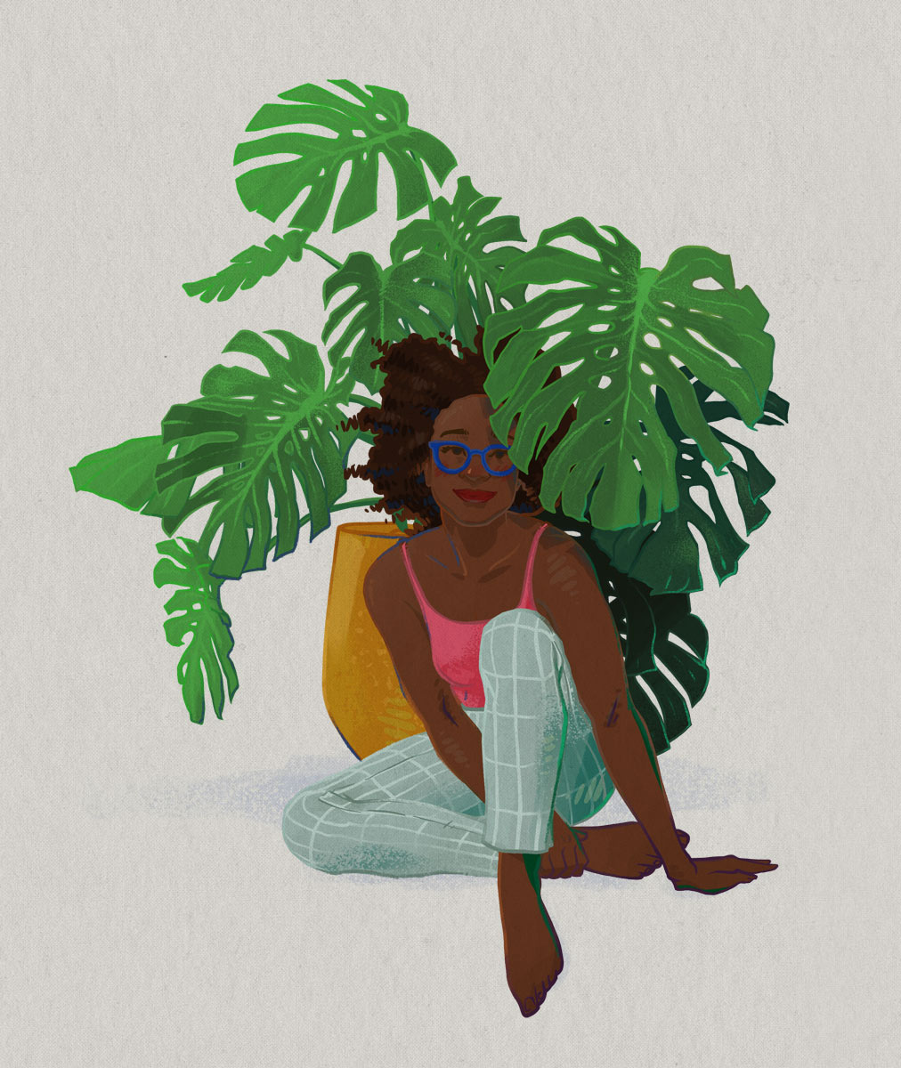 Illustration by Brittany Norris of monstera houseplant