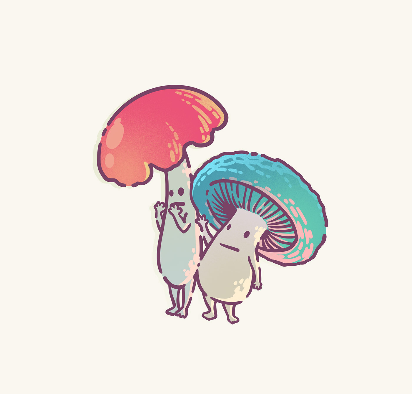Illustration icons by Brittany Norris monster fungi mushroom creatures