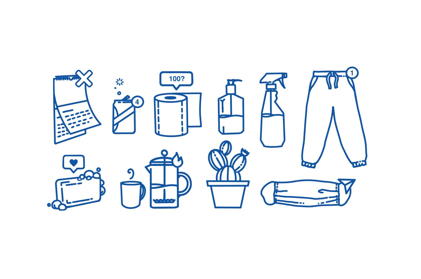 Illustration icons by Brittany Norris about working from home during COVID-19 or coronavirus