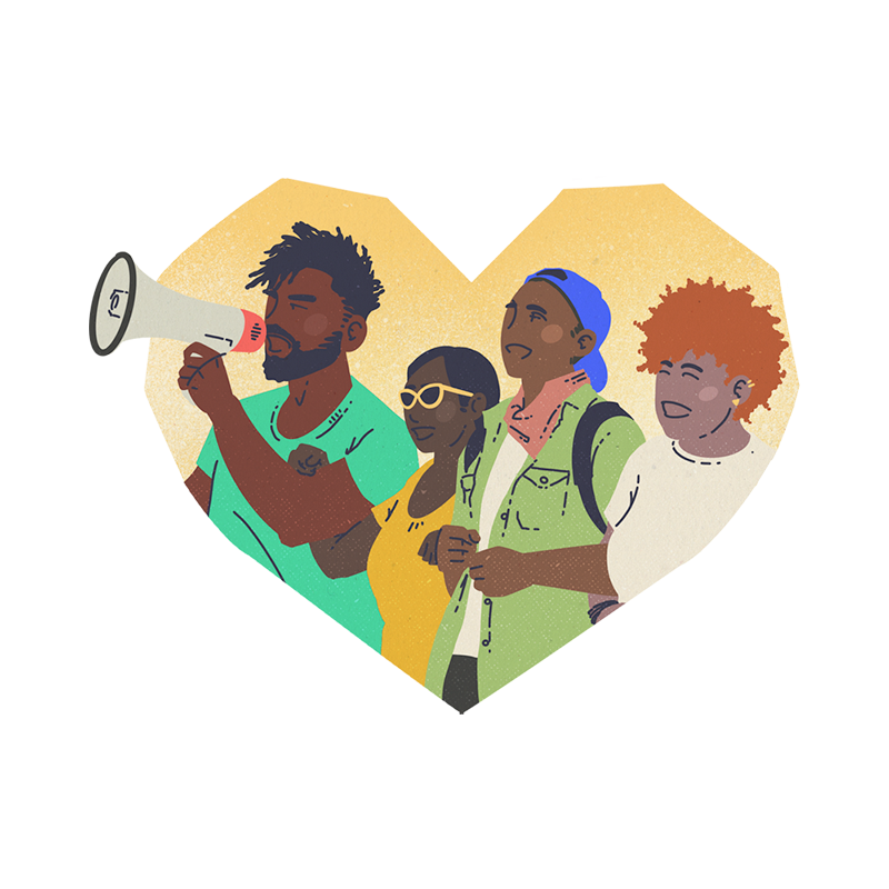 Illustration of black and BIPOC people advocacy by Brittany Norris for cllctivly