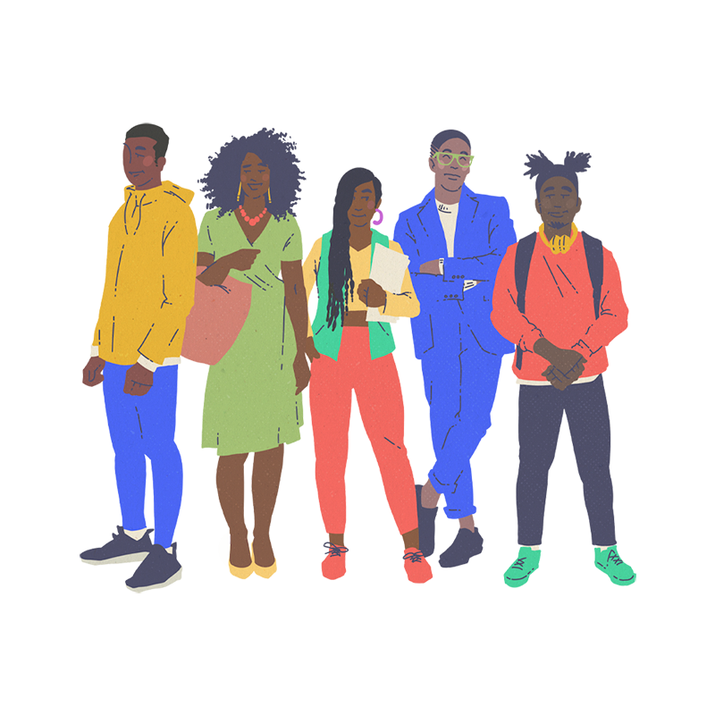 Illustration of black and BIPOC people building capactiy by Brittany Norris for cllctivly