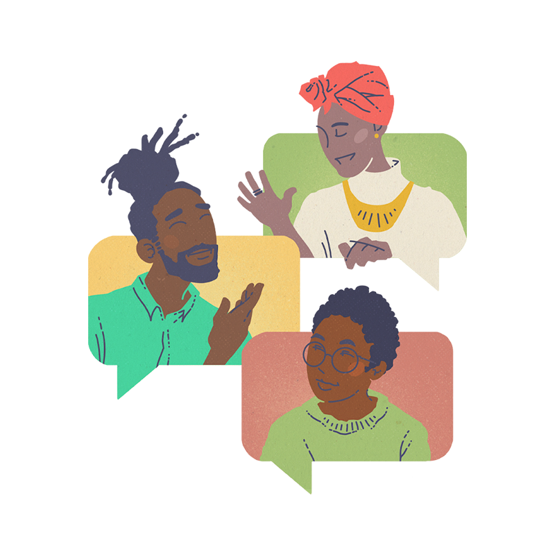 Illustration of black and BIPOC people networking by Brittany Norris for cllctivly