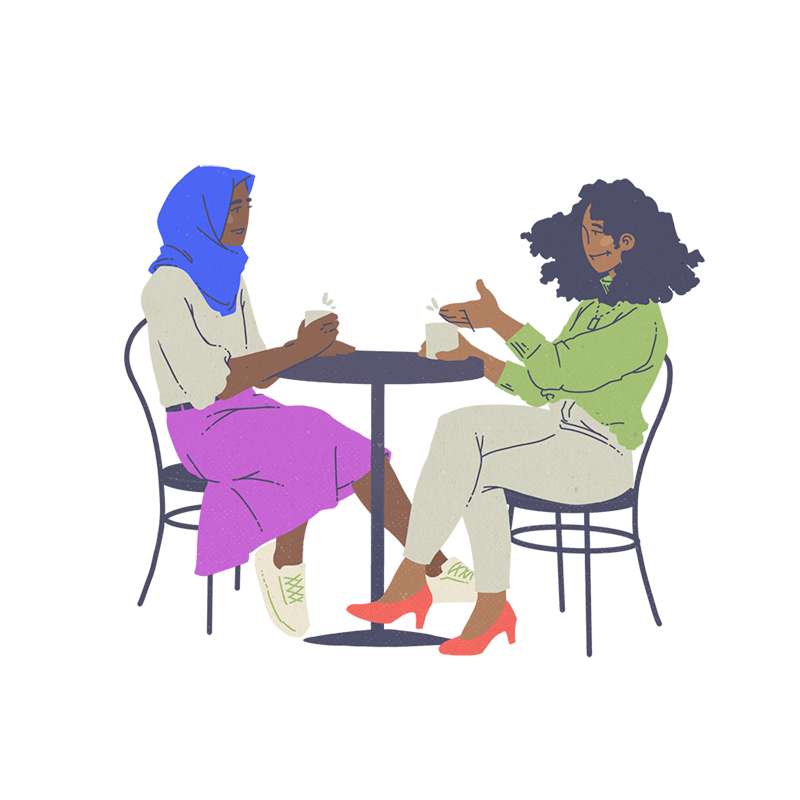 Illustration of black and BIPOC people Forging Relationships by Brittany Norris for cllctivly